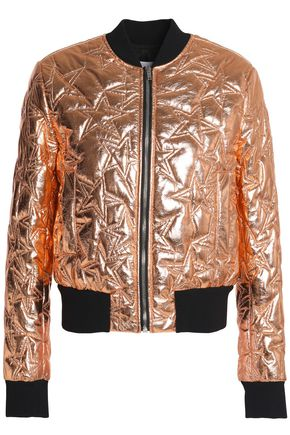 MSGM Quilted metallic faux leather bomber jacket
