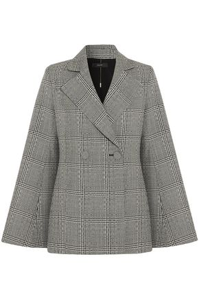 WOMAN BOYCOTT FLUTED PRINCE OF WALES CHECKED WOOL BLAZER BLACK