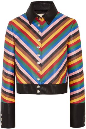 SARA BATTAGLIA Cropped striped leather jacket
