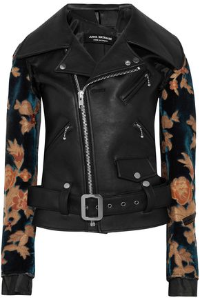 JUNYA WATANABE COMME des GARÇONS Jacquard-paneled faux leather biker jacket