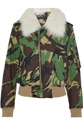 RAG & BONE Flight faux fur-trimmed printed cotton-blend jacket