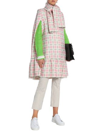 MSGM Checked wool and silk-blend cape