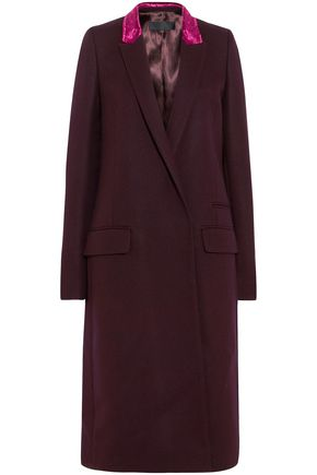 HAIDER ACKERMANN Velvet-trimmed wool-blend coat