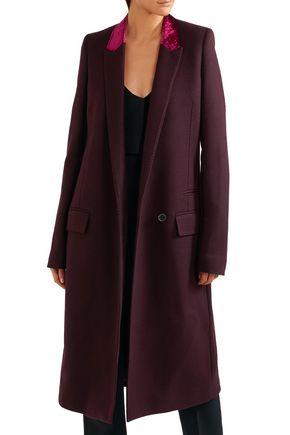 HAIDER ACKERMANN Velvet-trimmed wool-blend coat