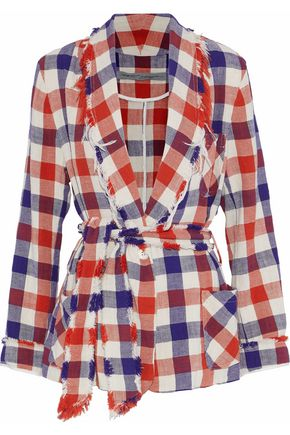 RAQUEL ALLEGRA Frayed gingham cotton-twill blazer