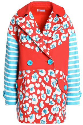 REDValentino Paneled printed cotton-blend coat