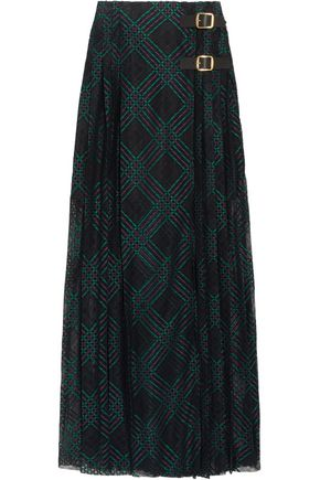 PHILOSOPHY di LORENZO SERAFINI Leather-trimmed pleated lace wrap maxi skirt