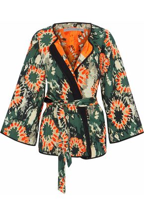 RAQUEL ALLEGRA Satin-trimmed cotton-blend jacquard kimono