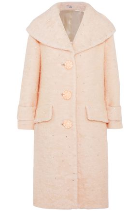 MIU MIU Crystal-embellished brushed mohair-blend coat