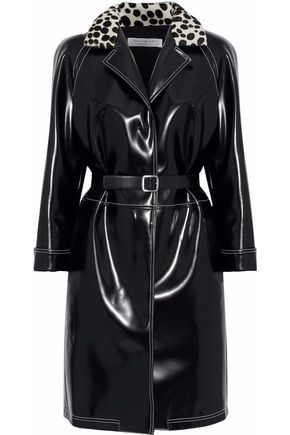 PHILOSOPHY di LORENZO SERAFINI Printed calf hair-trimmed glossed faux leather coat