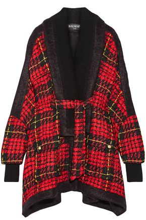 BALMAIN Oversized felt-trimmed checked bouclé-tweed coat