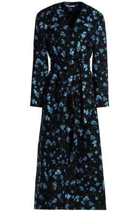 EMILIA WICKSTEAD Belted floral-print wool-twill coat