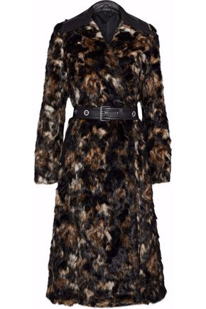 HELMUT LANG Belted leather-trimmed faux fur coat