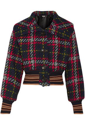 MIU MIU Cropped checked wool-tweed bomber jacket