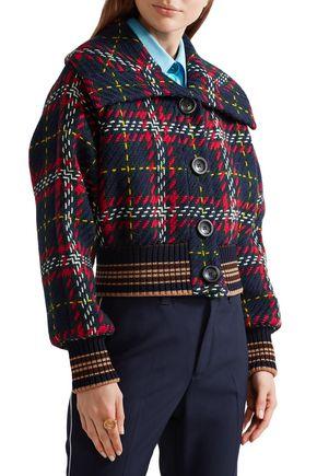 MIU MIU Cropped checked wool-tweed bomber jacket