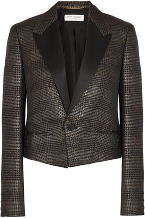 SAINT LAURENT Satin-trimmed metallic jacquard jacket