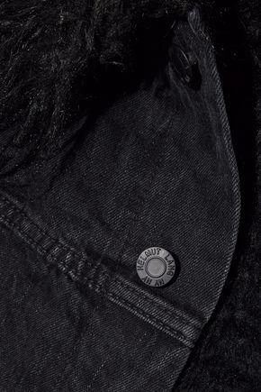 HELMUT LANG Faux fur-trimmed denim jacket
