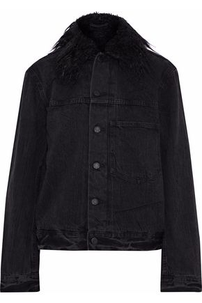 HELMUT LANG Faux fur-trimmed denim jacket