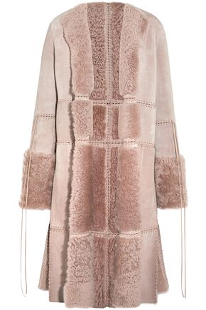 ALEXANDER MCQUEEN Lace-up leather and shearling coat