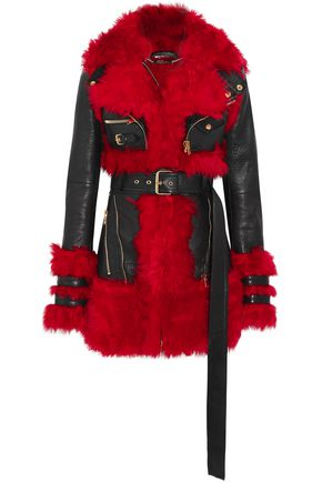ALEXANDER MCQUEEN Leather and shearling coat