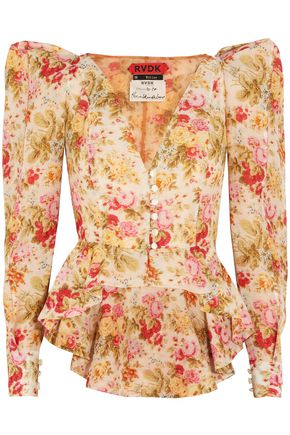 RONALD VAN DER KEMP Floral-print cotton and silk-blend voile jacket