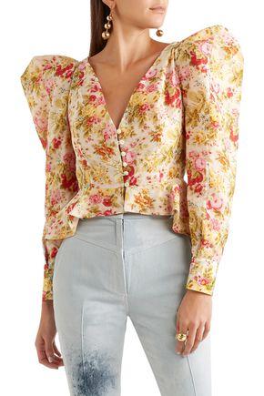 RONALD VAN DER KEMP Floral-print cotton and silk-blend voile jacket