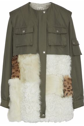 SEA Shearling-paneled cotton-blend twill coat