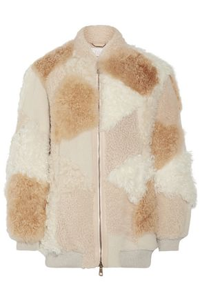 CHLOÉ Oversized leather-trimmed shearling and alpaca coat