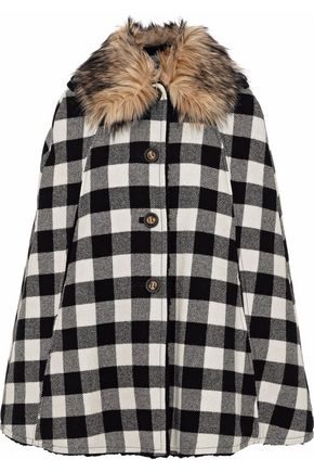 REDValentino Faux fur-trimmed gingham wool cape