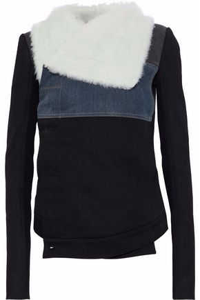 DRKSHDW by RICK OWENS Shearling, leather and denim-paneled cotton-twill jacket