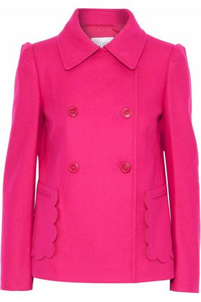 REDValentino Double-breasted scalloped wool-blend coat