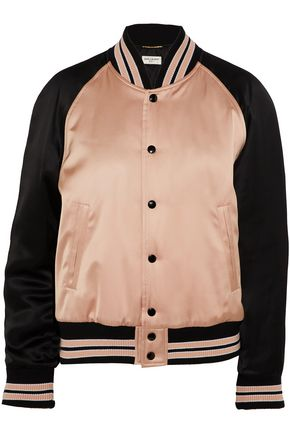 SAINT LAURENT Two-tone satin bomber jacket