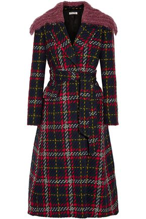 MIU MIU Faux shearling-trimmed checked wool-tweed coat