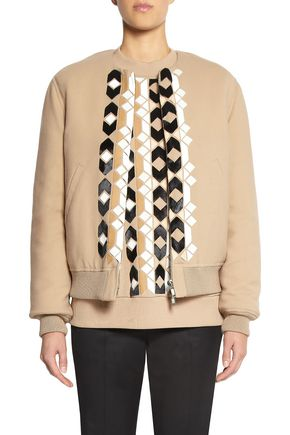 GIVENCHY Calf hair and leather-appliquéd wool-blend bomber jacket