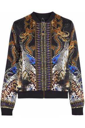 CAMILLA Reversible embellished printed silk bomber jacket