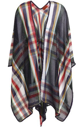 MISSONI Metallic checked open-knit wrap