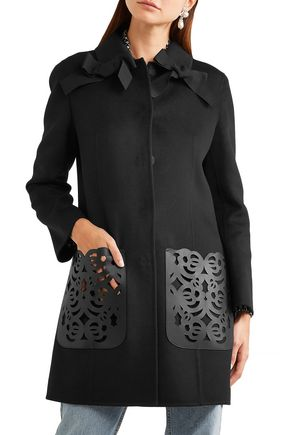 FENDI Laser-cut leather-paneled bow-embellished wool-felt coat