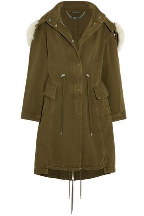 ALEXANDER MCQUEEN Shearling-trimmed cotton-twill hooded coat