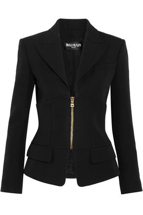 BALMAIN Zip-detailed wool blazer
