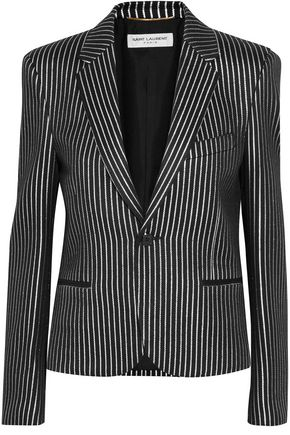SAINT LAURENT Striped metallic jacquard blazer