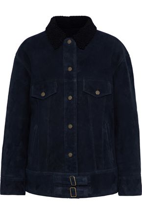 METEO by YVES SALOMON Shearling-trimmed suede jacket