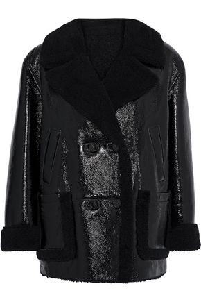 YVES SALOMON Double-breasted shearling-trimmed textured patent-leather jacket