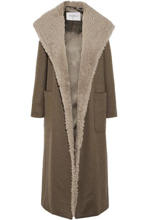MAX MARA Shearling-trimmed cashmere hooded coat