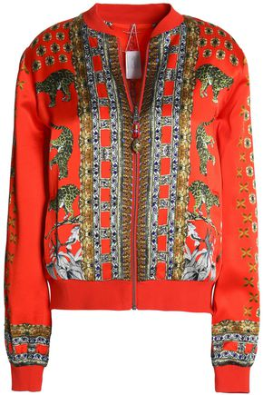CAMILLA Embellished silk-satin bomber jacket