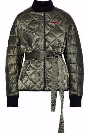 MARKUS LUPFER Liberty belted embellished quilted satin jacket