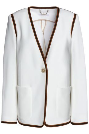 CHLOÉ Woven-trimmed crepe jacket