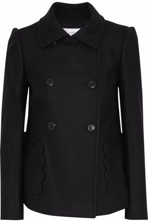 REDValentino Double-breasted brushed wool-blend coat