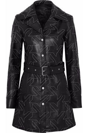 HELMUT LANG Belted patchwork leather coat