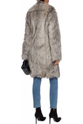 HELMUT LANG Wolf leather-trimmed faux fur coat