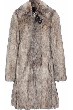 HELMUT LANG Wolf leather-trimmed faux fur coat